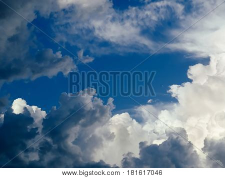 Blue sky with dense clouds at sunset