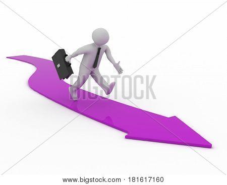3d man running along the arrow .  rendered illustration