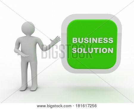 3d people - man person eith big button. Business solution .  rendered illustration