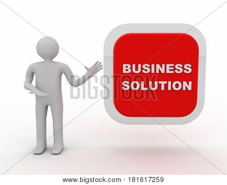 3d people - man person with big button. Business solution . 3D rendered illustration