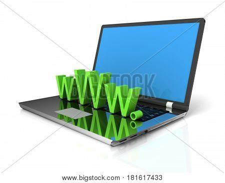3d Laptop showing www . rendered illustration