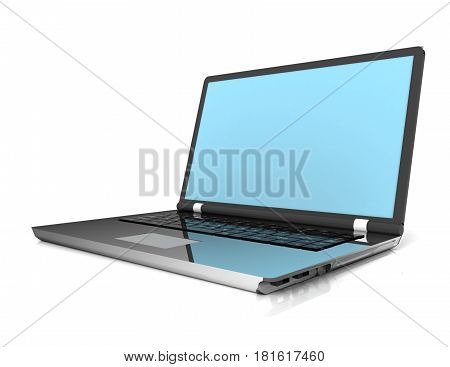 3D laptop computer isolated on white . rendered illustration