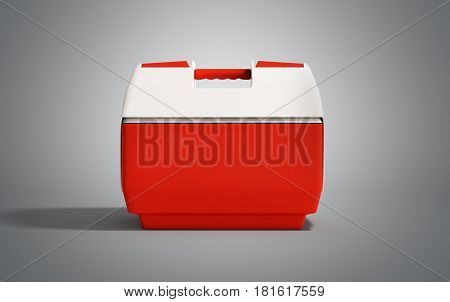Closed Refrigerator Box Red 3D Render On Grey Background