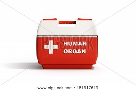 Closed Human Organ Refrigerator Box Red 3D Render On White Background