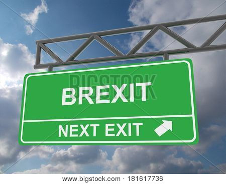 Green overhead road sign with a Brexit . rendered illustration
