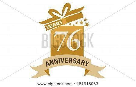 76 Years Gift Box Ribbon Anniversary Congratulation