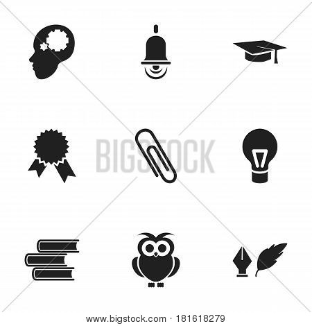 Set Of 9 Editable Education Icons. Includes Symbols Such As Creative Idea, Alarm Bell, Staple And More. Can Be Used For Web, Mobile, UI And Infographic Design.