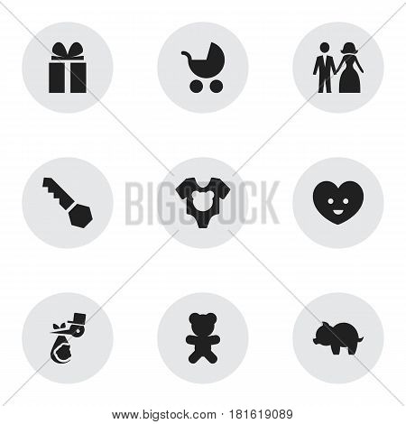 Set Of 9 Editable Kin Icons. Includes Symbols Such As Bodysuit, Toy, Lock And More. Can Be Used For Web, Mobile, UI And Infographic Design.