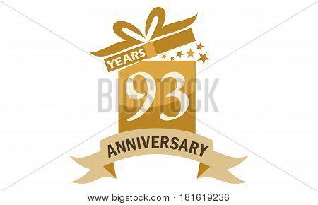 93 Years Gift Box Ribbon Anniversary Congratulation