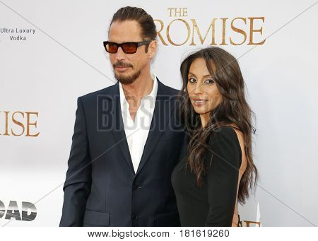 Chris Cornell and Vicky Karayiannis at the Los Angeles premiere of 'The Promise' held at the TCL Chinese Theatre in Hollywood, USA on April 12, 2017.