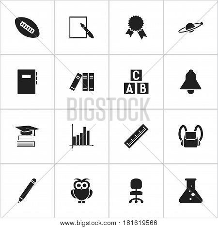 Set Of 16 Editable Education Icons. Includes Symbols Such As Education, Straightedge, Oval Ball And More. Can Be Used For Web, Mobile, UI And Infographic Design.