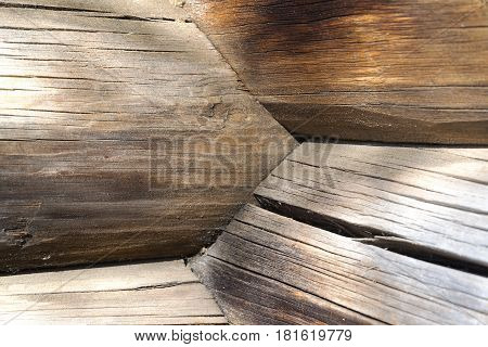 Wooden logs at the intersection in a rural Russian house.