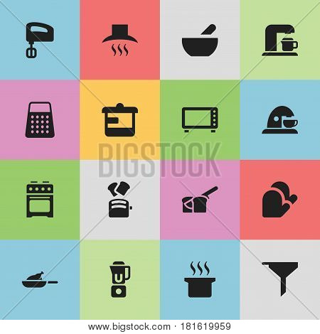 Set Of 16 Editable Meal Icons. Includes Symbols Such As Bakery, Oven, Kitchen Hood And More. Can Be Used For Web, Mobile, UI And Infographic Design.