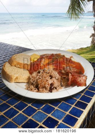 huevos rancheros eggs with rice and beans gallo pinto as seen in Corn Island Nicaragua Central America