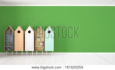 Scandinavian minimalist green background with colorful bookshelf on white parquet flooring child kids room interior design, 3d illustration