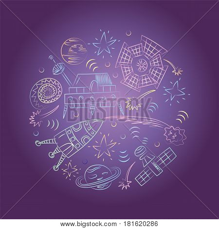 Colorful Hand Drawn Doodle Spaceships Rockets Falling Stars Planets and Comets Arranged in a Circle on Night Sky. Sketch Style. Vector Illustration.