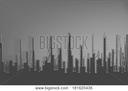 A cityscape in grey with a grey sky with ilumination.