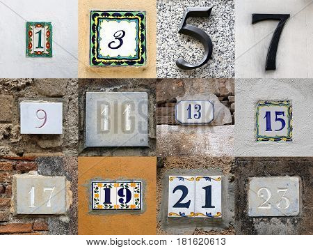 Collage of odd house numbers from 1 to 23