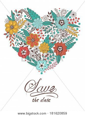 Cute heart shape made of flowers and leaves. Beautiful floral background. Use for card greeting invitation wedding party hen-party mother's day valentine. Vector illustration