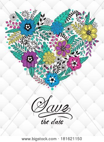 Floral card design flowers and leaf doodle elements. Cute heart shape made of flowers and leaves. Vector decorative invitation with volumetric leather background. Use for card greeting invitation wedding party hen-party mother's day valentine