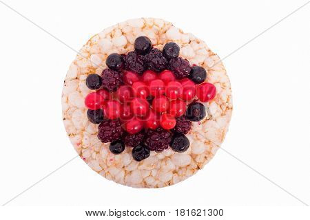 Sandwich of raspberries blackberries blueberries on rice bread