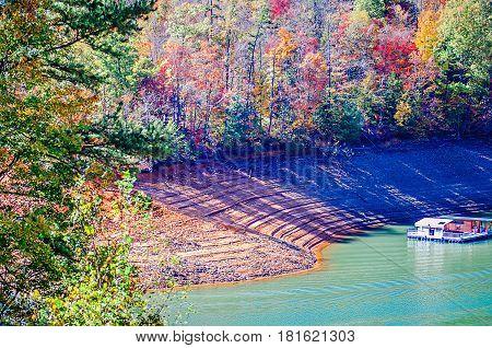 Nature Scenes Arounf Lake Fontana In Great Smoky Mountains