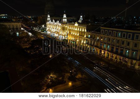 Traffic trails along the Prado late one night in the centre of Havana.