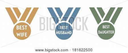 Isolated awards with the text best wife, best husband and best daughter written on each award
