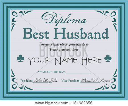 Blue diploma with the text best husband written in the middle of the diploma
