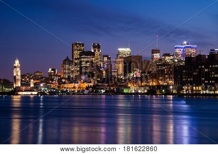 Montreal CA - 13 April 2017: Montreal Skyline at night as seen from Parc Jean Drapeau