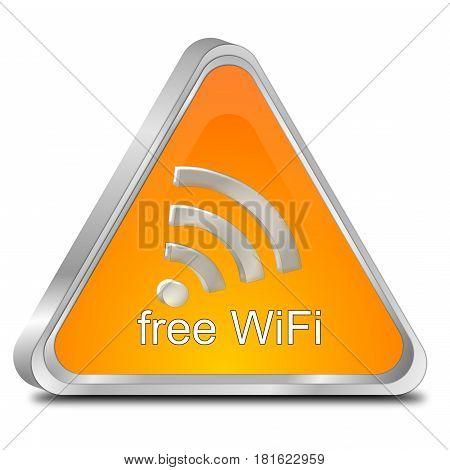 orange free wireless WiFi button - 3d illustration