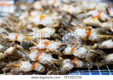 Egg crabs in seafood market , Thailand