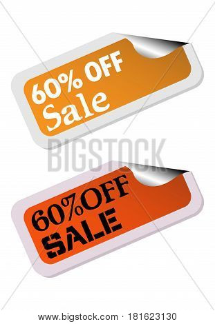Two isolated stickers with the text sixty percent off sale written on each sticker