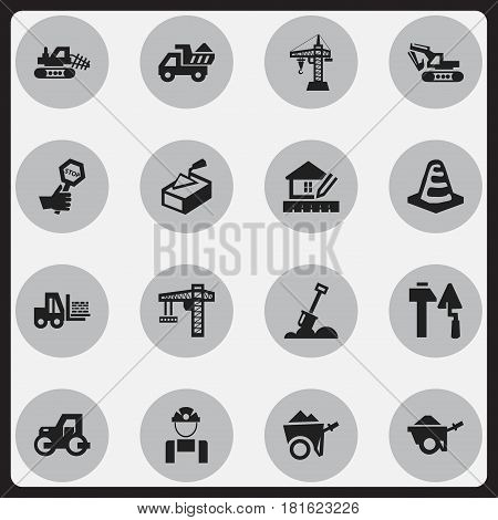 Set Of 16 Editable Construction Icons. Includes Symbols Such As Oar , Notice Object , Handcart. Can Be Used For Web, Mobile, UI And Infographic Design.