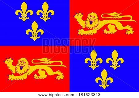 Flag of Landes is a department in southwestern France. Vector illustration poster