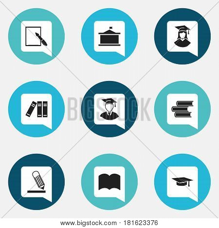 Set Of 9 Editable School Icons. Includes Symbols Such As Dictionary, Bookshelf, Graduated Female And More. Can Be Used For Web, Mobile, UI And Infographic Design.