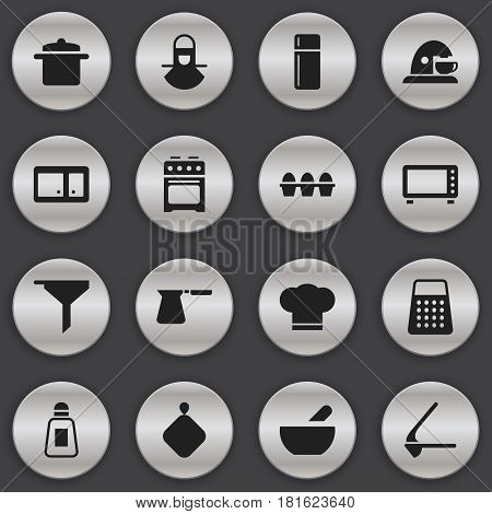 Set Of 16 Editable Food Icons. Includes Symbols Such As Refrigerator, Stove, Cookware And More. Can Be Used For Web, Mobile, UI And Infographic Design.