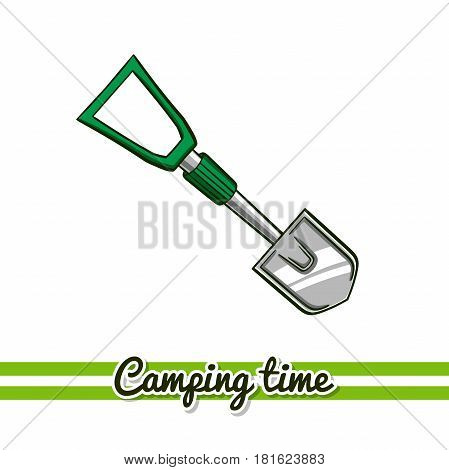 Hand drawn shovel isolated on white background. One image of series Camping time. Vector illustration