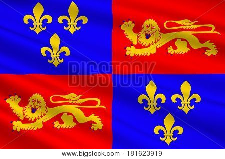 Flag of Landes is a department in southwestern France. 3d illustration