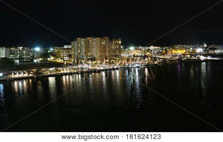 Old San Juan Port at night, Puerto Rico Night shot of the port area of Old San Juan, Puerto Rico