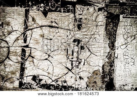 Abstract black and white background, metal, grunge texture, surrealistic background, metal with peeling paint