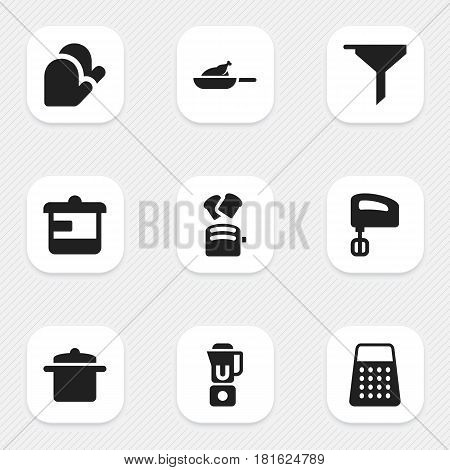 Set Of 9 Editable Cooking Icons. Includes Symbols Such As Utensil, Shredder, Filtering And More. Can Be Used For Web, Mobile, UI And Infographic Design.