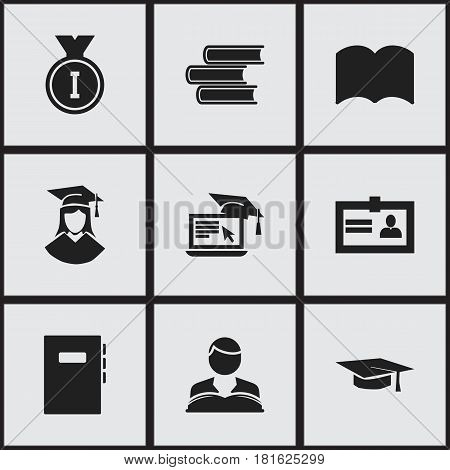Set Of 9 Editable School Icons. Includes Symbols Such As Distance Learning, Graduated Female, Graduation Hat And More. Can Be Used For Web, Mobile, UI And Infographic Design.