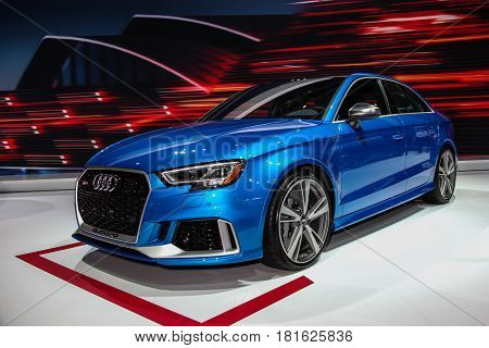 NEW YORK- APRIL 12: Audi RS -3 shown at the New York International Auto Show 2017, at the Jacob Javits Center. This was Press Preview Day One of NYIAS, on April 12, 2017 in New York City.