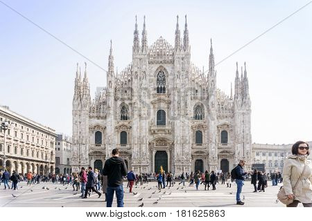 MILAN, ITALY - March 16, 2017: street view of Milan Cathedra, Domm de Milan is the cathedral church