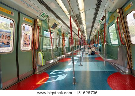 HONG KONG - CIRCA NOVEMBER, 2016: inside an MTR train. The Mass Transit Railway is the rapid transit railway system of Hong Kong.