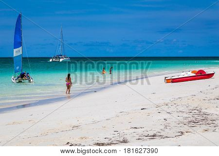Beautiful white sands meet turquoise waters at Playa Pilar on the coast of Cuba.