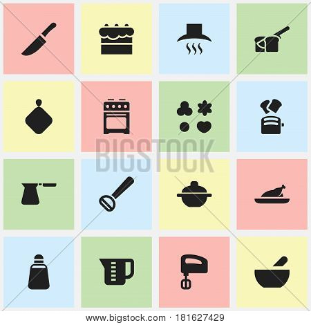 Set Of 16 Editable Cooking Icons. Includes Symbols Such As Slice Bread, Mensural, Agitator And More. Can Be Used For Web, Mobile, UI And Infographic Design.