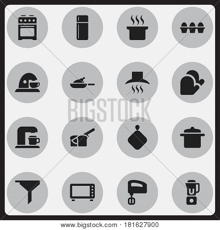 Set Of 16 Editable Meal Icons. Includes Symbols Such As Egg Carton, Agitator, Grill And More. Can Be Used For Web, Mobile, UI And Infographic Design.