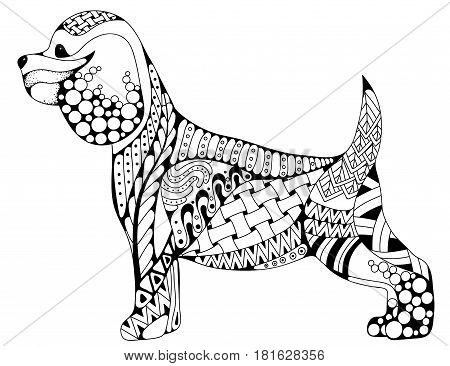 Zentangle stylized cartoon Cocker Spaniel dog isolated on white background. Hand drawn sketch for adult antistress coloring page T-shirt emblem logo or tattoo with doodle zentangle design elements.